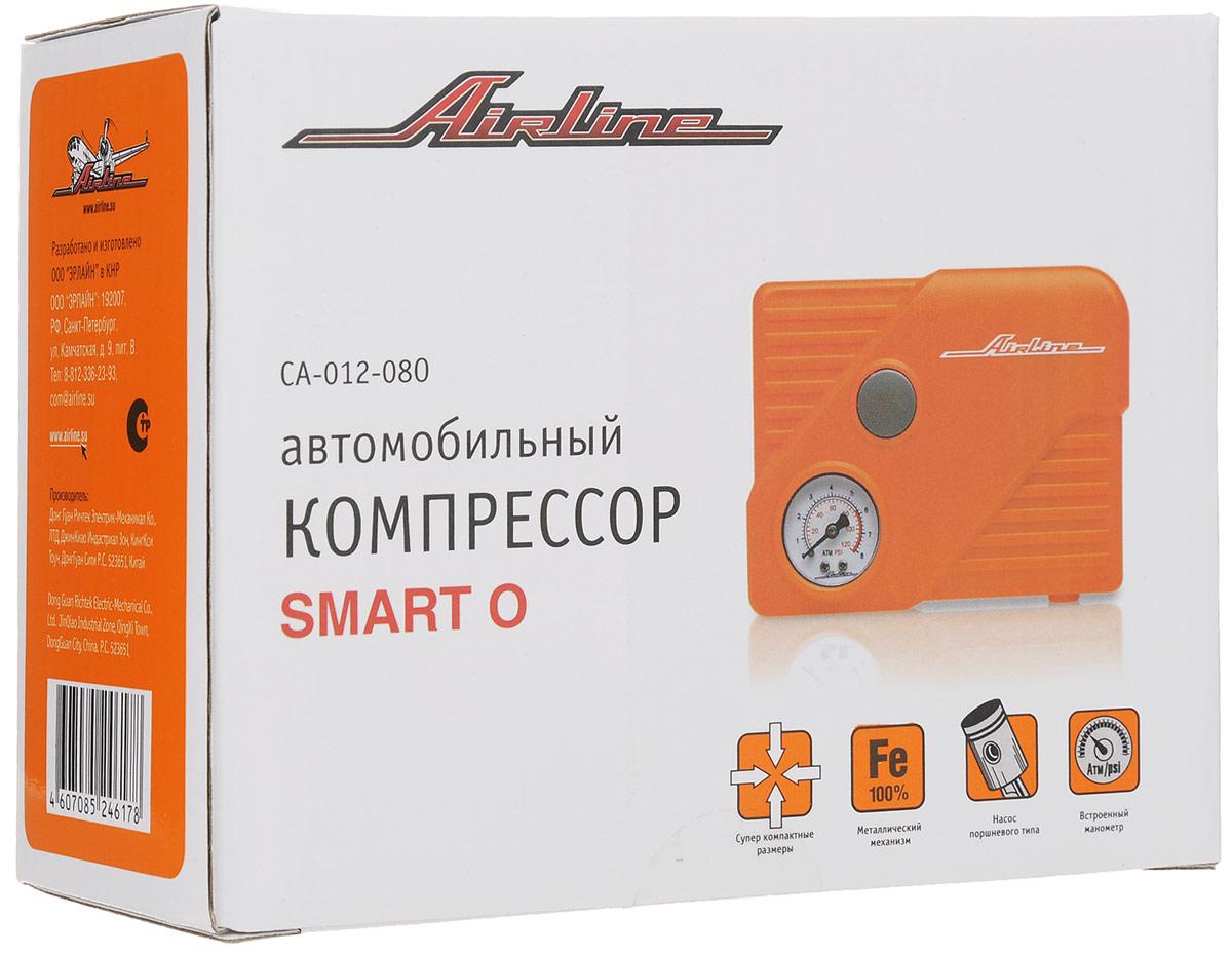 """Автомобильный компрессор Airline Smart O. CA-012-08OCA-012-08OУльтра маленький компрессор со светодиодным фонариком. Компрессор имеет удлиненный цилиндр и поршень, что позволяет прокачивать внушительный объем воздуха – 12 л/мин для столь миниатюрного изделия. Компрессор Airline подключается к штуцеры и висит """"на колесе"""", пока стрелка манометра не покажет нужное давление. Компрессор не занимает много места и легко помещается в бардачке автомобиля. При этом цена на данное изделие самая низкая в модельном ряде компрессоров Airline. Рекомендуется использовать для накачивания колес радиусом до R15. Комплектация: Поршневой компрессор высокого давления с манометром; Переходники-насадки - 3 шт; Сумка для хранения и переноски с логотипом Airline; Инструкция по применению; Гарантийный талон. Характеристики: Время накачивания колеса R14 от 0 до 2 Атм: 8 мин. Тип фонаря: светодиодный. Размеры устройства (Д х Ш х В): 11 см х 10 см х 5 см. Размер упаковки (Д х Ш х В): 13 см х 5,5 см х 13 см. ..."""