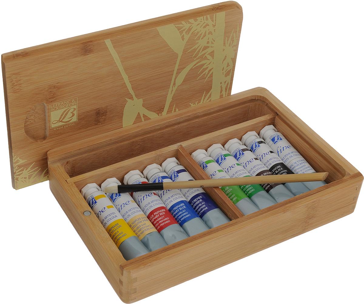 Набор масляных красок Lefranc & Bourgeois Fine, в бамбуковом кейсе, 12 предметовFS-54103Набор Ferrario Lefranc & Bourgeois Fine включает 10 тюбиков масляных красок разных цветов и 2 кисти №6, №8. Для хранения предметов набора предусмотрен бамбуковый кейс. Масляные краски рекомендуется использовать на холсте, картоне, бумаге и дереве. Основой масляных красок служат натуральные пигменты и хороший связующий материал, что создает удивительную чистоту цветов и оттенков, которая не теряется даже при смешивании. Краски обладают отличной светостойкостью, имеют повышенное содержание и отличное качество натуральных и синтетических пигментов. Такой набор станет замечательным подарком для художника. Объем тюбиков с красками: 20 мл. Длина кистей: 19 см, 20 см. Размер кейса: 23 х 15,5 х 4 см.