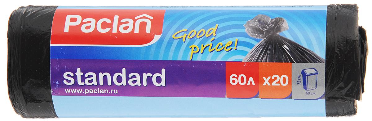 "Мешки для мусора Paclan ""Standart"", 60 л, 20 шт 402110/163467"