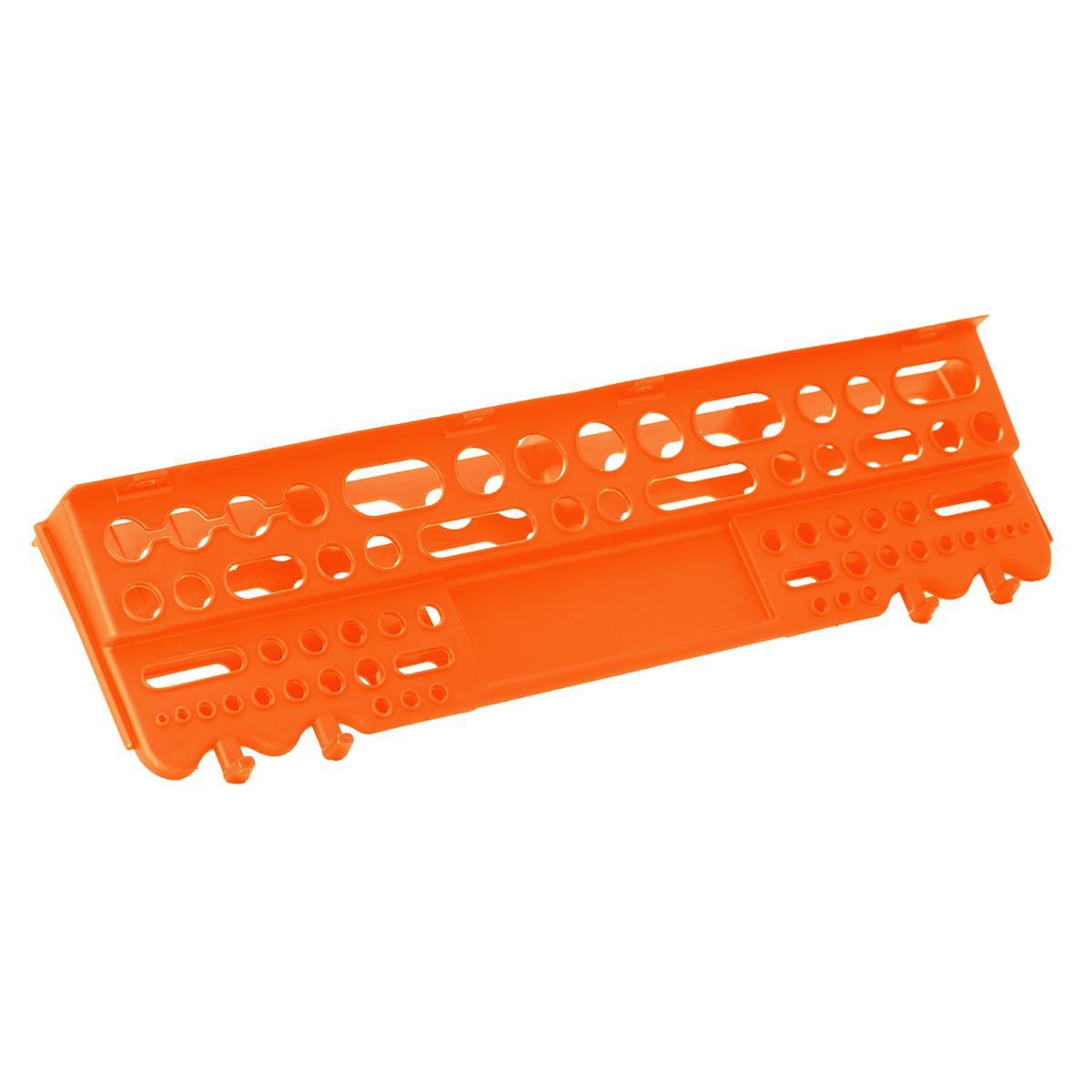 Полка для инструмента Blocker Reef, цвет: оранжевый, 625 х 168 х 74 ммПЦ3670ОРПолка для инструмента Blocker Reef выполнена из полипропилена. Прочная конструкция полки позволяет аккуратно разместить весь инструмент рядом с рабочим местом в гараже, мастерской или дома. Надежное крепление на стену выдерживает полную загрузку всех ячеек полки.