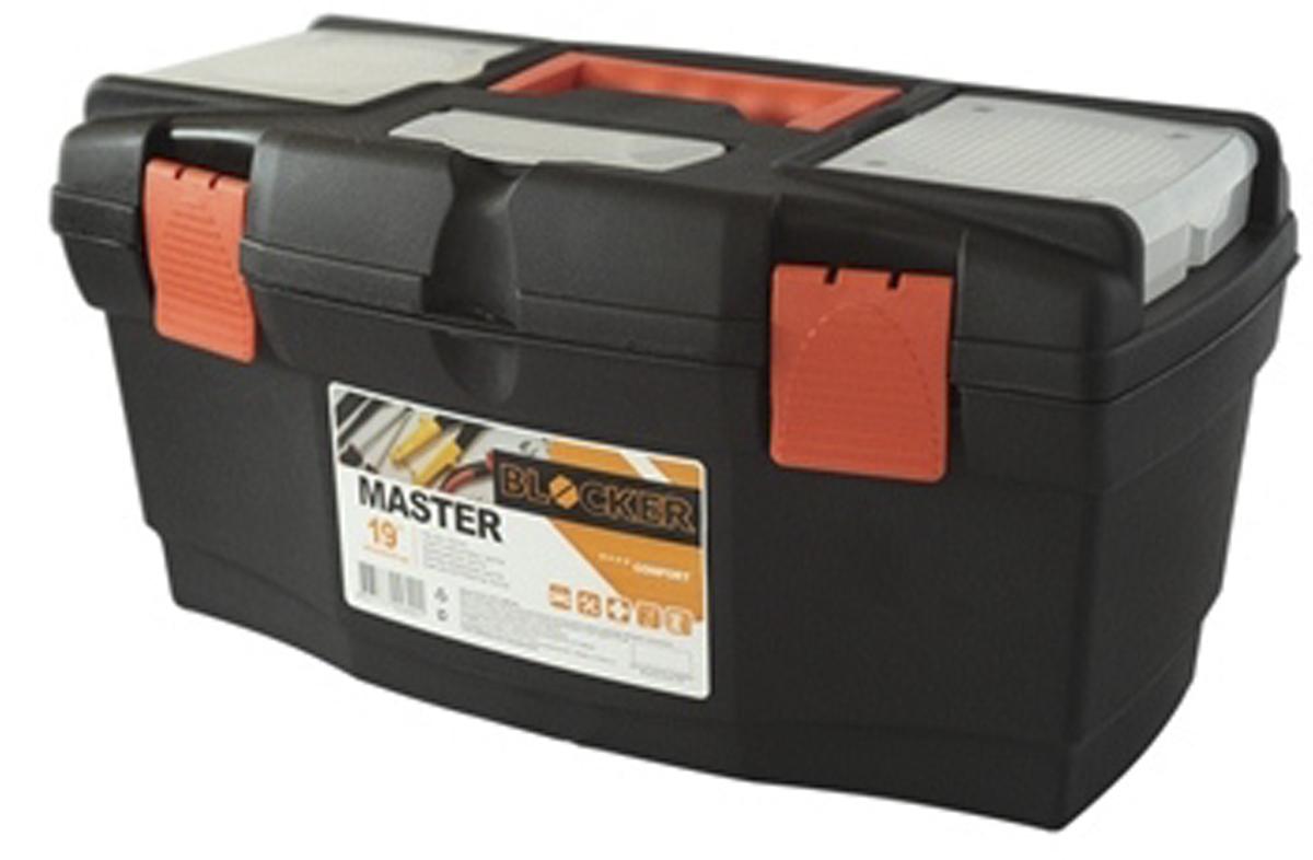 Ящик для инструментов Blocker Master, цвет: черный, оранжевый, 405 х 215 х 230 мм80621Ящик Blocker Master предназначен для хранения инструмента и других хозяйственных нужд. Классическая форма, внутренний лоток для эффективной организации хранения. Блоки для мелочей на крышке идеально подходят для размещения мелких скобяных изделий. Надежные замки позволяют безопасно переносить ящик с большой загрузкой. Отверстие для крепления навесного замка позволит защитить инструмент при транспортировке.