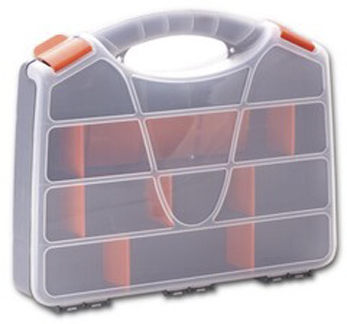 Органайзер для инструментов Blocker Profi, цвет: серый, оранжевый, 32 х 26 х 5,5 смПЦ3720СРСВИНЦОРУдобный органайзер Blocker Profi предназначен для переноски и хранения инструментов. Изделие выполнено из высококачественного полипропилена. Прозрачная крышка, небольшой размер и продуманная эргономика делают хранение любых мелочей простым и эффективным. Надежные замки предохраняют от случайного открытия. Съемные разделители позволяют организовать пространство в соответствии с вашими пожеланиями.