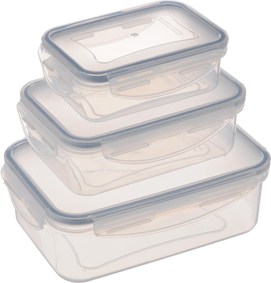 Контейнер Tescoma Freshbox, 3 штVT-1520(SR)Набор пластиковых контейнеров Tescoma Freshbox подходит для переноски и хранения любых продуктов питания. Благодаря многообразию объемов, вы можете подобрать свой. Изделия абсолютно герметичны, способны выдержать сильные перепады температур. Пластик и силикон, из которых изготовлены контейнеры, переносят экстремальные температурные режимы в диапазоне от -18°C до +110°C. Такие контейнеры оптимально сохраняют вкус, аромат и внешний вид продуктов.Подходят для холодильника, морозильных камер, микроволновой печи и посудомоечной машины.Размер контейнеров (с учетом крышек): 12,5 х 8,5 х 4 см; 15,5 х 10,5 х 5,3 см; 18,5 х 13 х 6,8 см.Объем контейнеров: 200 мл; 500 мл: 1 л.