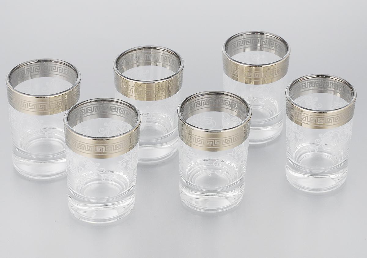 Набор стопок Гусь-Хрустальный Гармония, 60 мл, 6 шт. 1022/021022/02Набор Гусь-Хрустальный Гармония состоит из 6 стопок, изготовленных из высококачественного натрий-кальций-силикатного стекла. Изделия оформлены красивым зеркальным покрытием и белым матовым орнаментом. Такой набор прекрасно дополнит праздничный стол и станет желанным подарком в любом доме. Можно мыть в посудомоечной машине. Диаметр стопки: 4,5 см. Высота стопки: 6,7 см. Уважаемые клиенты! Обращаем ваше внимание на незначительные изменения в дизайне товара, допускаемые производителем. Поставка осуществляется в зависимости от наличия на складе.