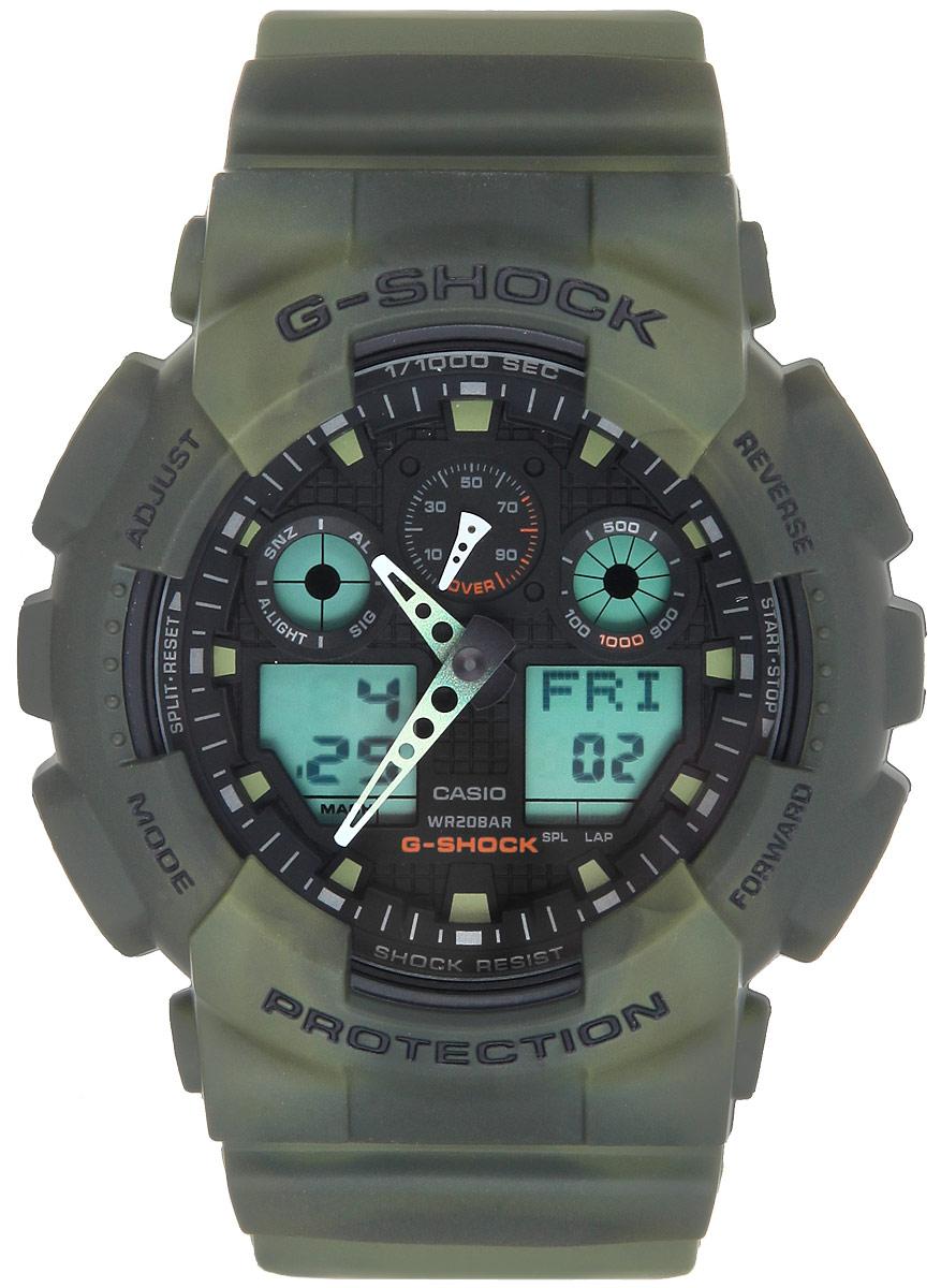 Часы наручные мужские Casio G-Shock, цвет: зеленый. GA-100MM-3AGA-100MM-3AМногофункциональные мужские часы Casio G-Shock, выполнены из минерального стекла, металлического сплава и полимерного материала. Корпус часов оформлен символикой бренда. Часы оснащены ударопрочным корпусом с защитой от воздействия магнитных полей и электронно-механическим механизмом, имеют степень влагозащиты равную 20 BAR, а также дополнены устойчивым к царапинам минеральным стеклом. Браслет часов оснащен застежкой-пряжкой, которая позволит с легкостью снимать и надевать изделие. Корпус часов дополнен мощной светодиодной подсветкой. Дополнительные функции: таймер, будильник, функция повтора будильника, секундомер, функция мирового времени, автоматический календарь, отображение времени в 12-часовом или 24-часовом формате, функция отображения скорости. Часы поставляются в фирменной упаковке. Многофункциональные часы Casio G-Shock подчеркнут отменное чувство стиля своего обладателя.