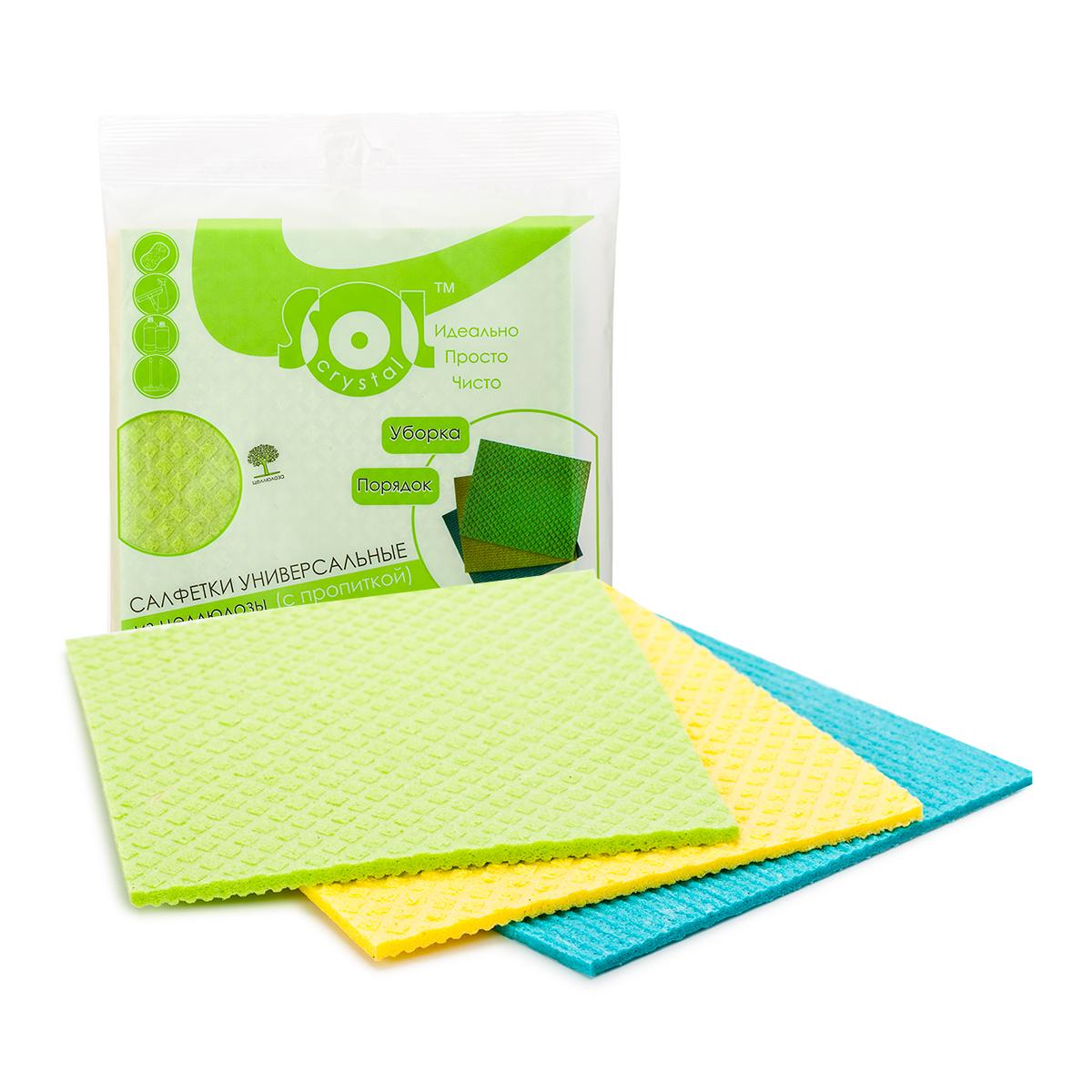 Салфетка для уборки Sol Crystal Cale, 18 x 20 см, 3 шт. 2000220002/20019Состав: 70% целлюлоза, 30% хлопок; цвет: желтый, голубой, зеленый