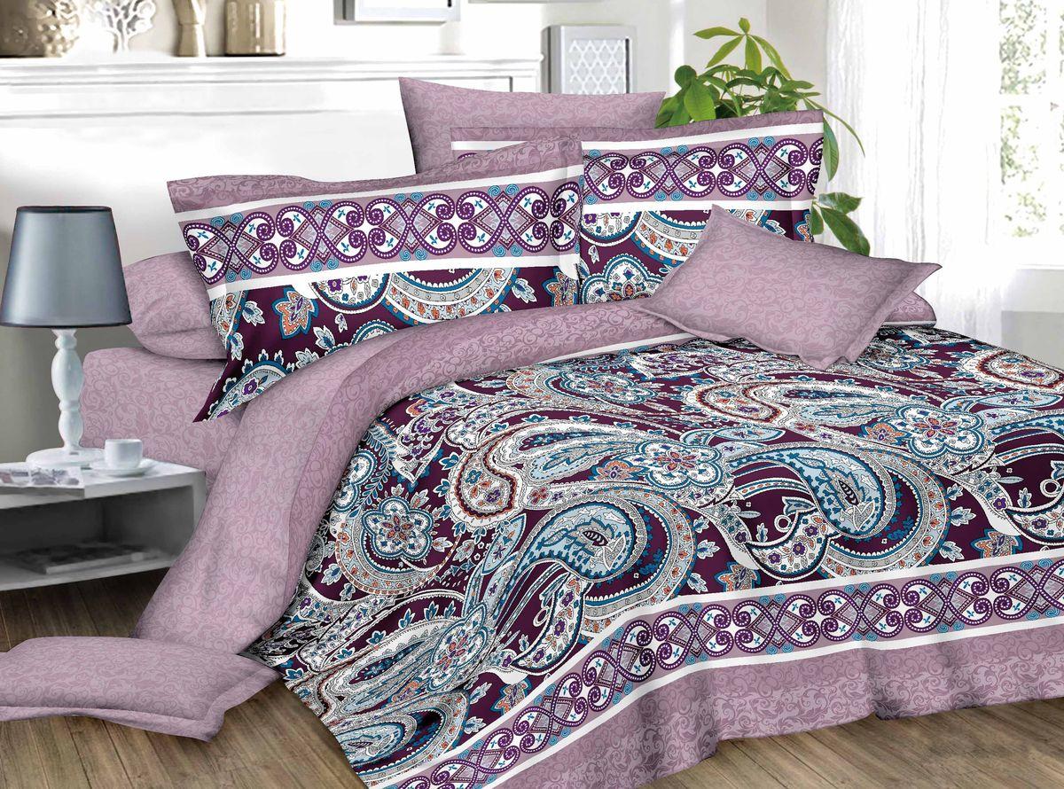 Комплект белья ЭГО Шахерезада, 1,5-спальный, наволочки 70х70, цвет: фиолетовый. э-2014-01э-2014-01Материал - полисатин (50% хлопок, 50% полиэстер)