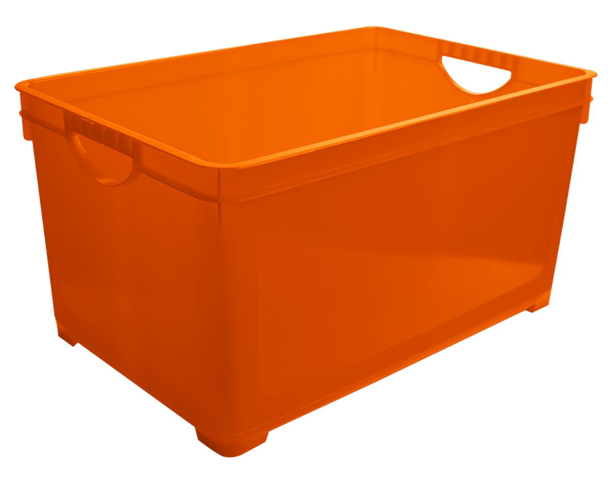 Ящик для хранения BranQ, цвет: оранжевый, 48 лS03301004Универсальный ящик для хранения BranQ, выполненный из прочного цветного пластика, поможет правильно организовать пространство в доме и сэкономить место. В нем можно хранить все, что угодно: одежду, обувь, детские игрушки и многое другое. Прочный каркас ящика позволит хранить как легкие вещи, так и переносить собранный урожай овощей или фруктов. Ящик оснащен двумя ручками для удобной транспортировки.