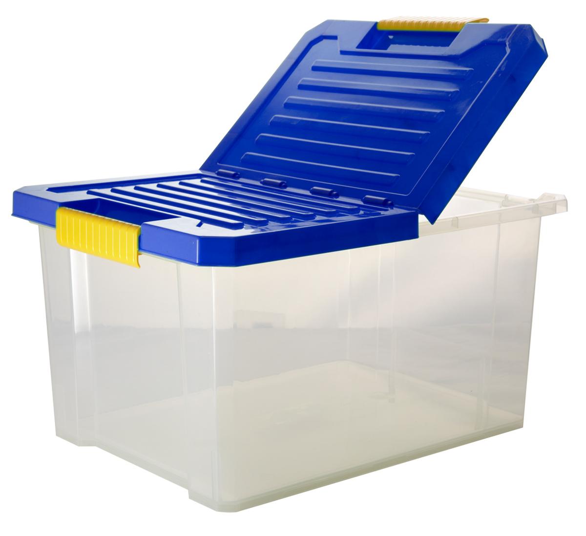Ящик для хранения BranQ Unibox, цвет: синий, прозрачный, 17 лBQ2562СНЛЕГОУниверсальный ящик для хранения BranQ Unibox, выполненный из прочного пластика, поможет правильно организовать пространство в доме и сэкономить место. В нем можно хранить все, что угодно: одежду, обувь, детские игрушки и многое другое. Прочный каркас ящика позволит хранить как легкие вещи, так и переносить собранный урожай овощей или фруктов. Изделие оснащено складной крышкой, которая защитит вещи от пыли, грязи и влаги. Эргономичные ручки-защелки, позволяют переносить ящик как с крышкой, так и без нее.