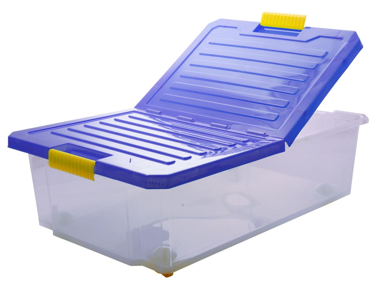 Ящик для хранения BranQ Unibox, на колесиках, цвет: синий, прозрачный, 30 лBQ2564СНЛЕГОУниверсальный ящик для хранения BranQ Unibox, выполненный из прочного пластика, поможет правильно организовать пространство в доме и сэкономить место. В нем можно хранить все, что угодно: одежду, обувь, детские игрушки и многое другое. Прочный каркас ящика позволит хранить как легкие вещи, так и переносить собранный урожай овощей или фруктов. Изделие оснащено складной крышкой, которая защитит вещи от пыли, грязи и влаги. С помощью колесиков на дне изделия ящик легко перемещать по комнате. Эргономичные ручки-защелки, позволяют переносить ящик как с крышкой, так и без нее.