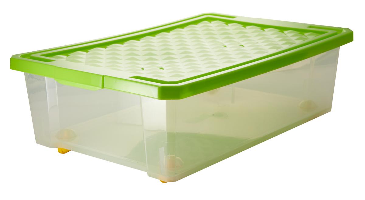Ящик для хранения BranQ Optima, на колесиках, цвет: зеленый, прозрачный, 30 лBQ2574ЗЛПРУниверсальный ящик для хранения BranQ Optima, выполненный из прочного пластика, поможет правильно организовать пространство в доме и сэкономить место. В нем можно хранить все, что угодно: одежду, обувь, детские игрушки и многое другое. Прочный каркас ящика позволит хранить как легкие вещи, так и переносить собранный урожай овощей или фруктов. С помощью колесиков на дне изделия ящик легко перемещать по комнате. Изделие также оснащено крышкой, которая защитит вещи от пыли, грязи и влаги.