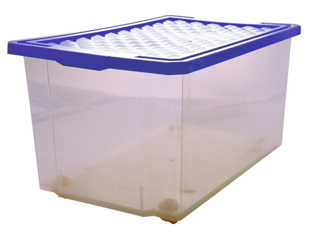 Ящик для хранения BranQ Optima, на колесиках, цвет: синий, прозрачный, 57 лUP210DFУниверсальный ящик для хранения BranQ Optima, выполненный из прочного пластика, поможет правильно организовать пространство в доме и сэкономить место. В нем можно хранить все, что угодно: одежду, обувь, детские игрушки и многое другое. Прочный каркас ящика позволит хранить как легкие вещи, так и переносить собранный урожай овощей или фруктов. С помощью колесиков на дне изделия ящик легко перемещать по комнате. Изделие также оснащено крышкой, которая защитит вещи от пыли, грязи и влаги.