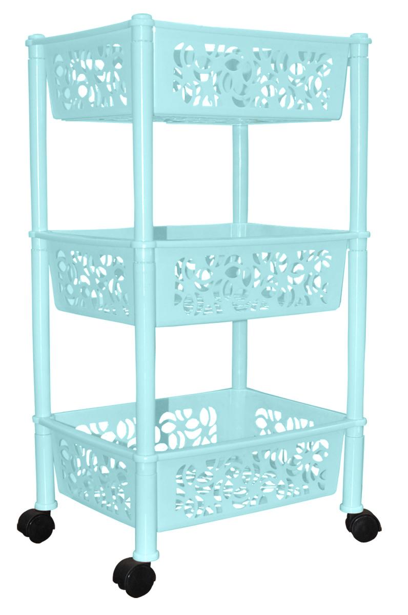 Этажерка BranQ Prima, 3-ярусная, на колесиках, цвет: бирюзовый, 37 х 29 х 69 см. BQ2828БРЗBQ2828БРЗЭтажерка BranQ Prima с 3 полками выполнена из пластика и предназначена для хранения различных предметов на кухне, в ванной или в прихожей. На кухне в ней можно хранить овощи и фрукты, в ванной - различные ванные принадлежности, в прихожей и комнате - сумки и аксессуары. Благодаря колесикам этажерку можно перемещать в любую сторону без особых усилий. Очень удобная и компактная, но в тоже время вместительная, она прекрасно впишется в пространство любого помещения. Этажерка придется особенно кстати, если у вас небольшая ванная или кухня: она займет минимум пространства. Легко собирается и разбирается.