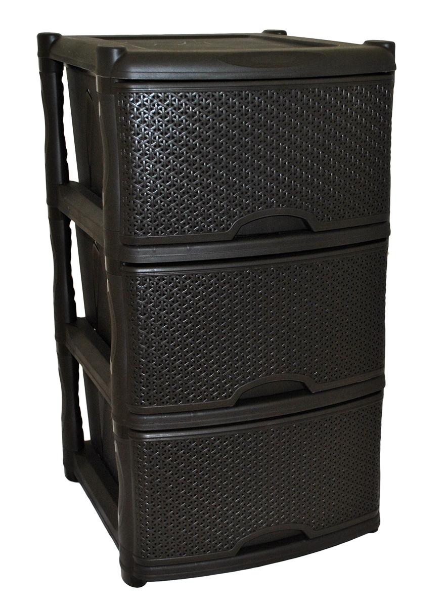 Комод BranQ Natural Style, цвет: венге, 3 секции. BQ3772ВНГМ2431Комод BranQ Natural Style изготовлен из высококачественного пластика. Ящики оформлены уникальным дизайном под ротанг. Комод предназначен для хранения различных вещей и состоит из трех вместительных выдвижных секций. Такой оригинальный комод надежно защитит вещи от загрязнений, пыли и моли, а также позволит вам хранить их компактно и с удобством. Стильный дизайн комода дополнит интерьер комнаты.