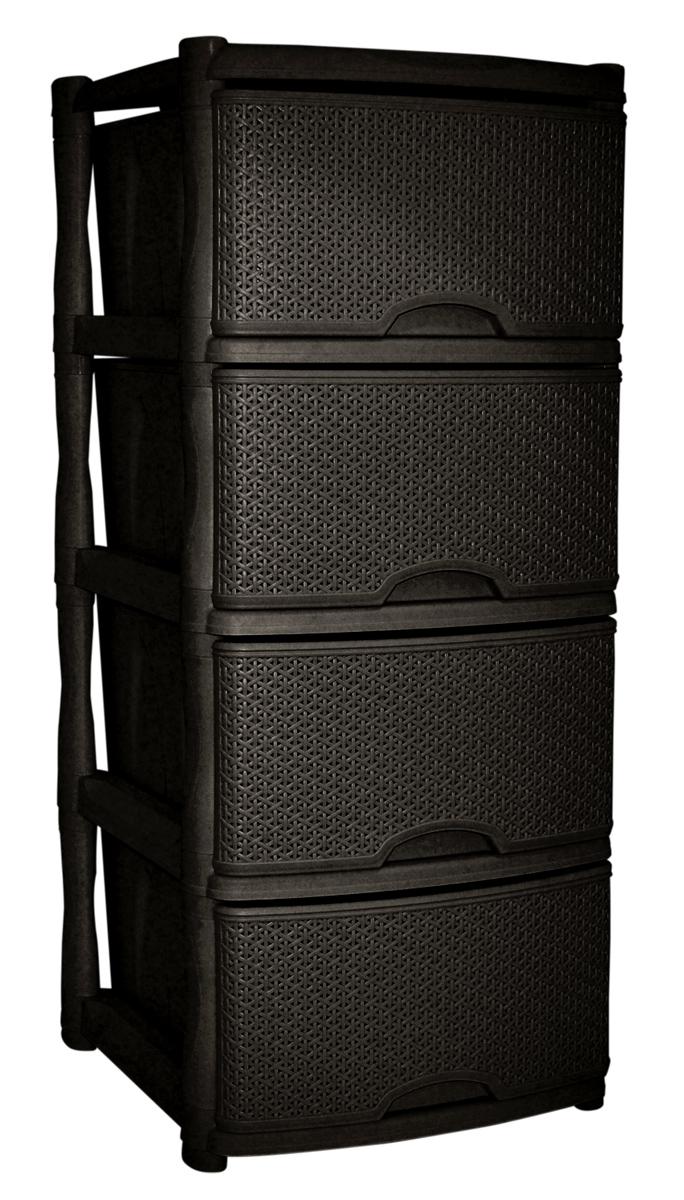 Комод BranQ Natural Style, цвет: венге, 4 секции. BQ3773ВНГBQ3773ВНГКомод BranQ Natural Style изготовлен из высококачественного пластика. Ящики оформлены уникальным дизайном под ротанг. Комод предназначен для хранения различных вещей и состоит из четырех вместительных выдвижных секций. Такой оригинальный комод надежно защитит вещи от загрязнений, пыли и моли, а также позволит вам хранить их компактно и с удобством. Стильный дизайн комода дополнит интерьер комнаты.