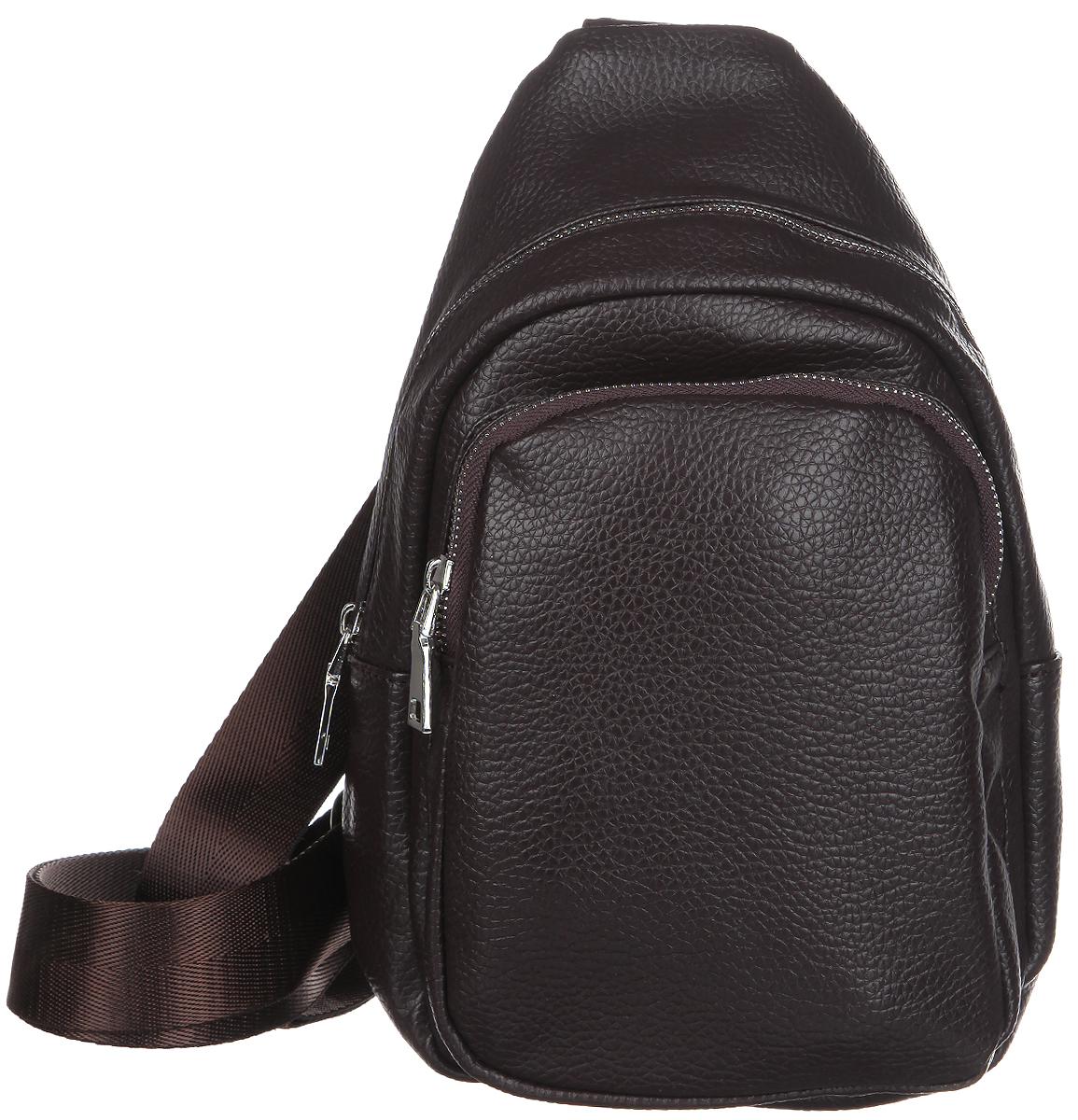 Сумка мужская Orsa Oro, цвет: темно-коричневый. D-232/55859425-002Мужская сумка Orsa Oro выполнена из экокожи темно-коричневого цвета. Сумка имеет одно основное отделение, закрывающееся на застежку-молнию. Внутри - один накладной карман для телефона и мелких принадлежностей. На лицевой стороне сумки расположен вшитый карман на застежке-молнии. Для удобства предусмотрена актуальная ручка-лента регулируемой длины, что позволяет носить изделие как в руках, так и на плече. Такая сумка подчеркнет вашу яркую индивидуальность и оригинально дополнит ваш образ.