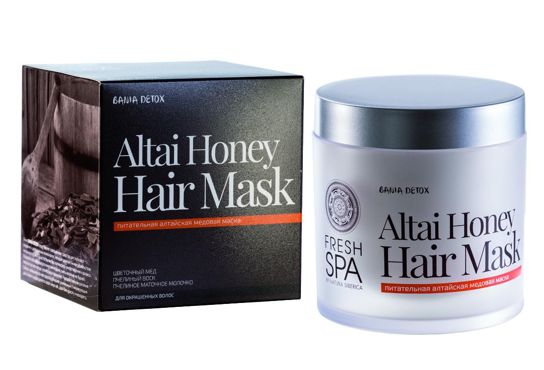Fresh Spa Маска для волос питательная Bania Detox Медовая, 400 мл4605845001470Питательная алтайская медовая маска для окрашенных волос, созданная на основе натуральных био — компонентов, интенсивно питает и восстанавливает структуру волос, защищает от негативных воздействий, предотвращает потерю цвета. Делает волосы необыкновенно сильными, упругими и блестящими. Натуральный сибирский мед, содержащий большое количество витаминов и микроэлементов, способствует укреплению и росту волос, возвращает им природную силу и мягкость. Пчелиный воск восполняет неровности поврежденных волос, придает им естественный блеск. В маточном молочке содержится невероятно высокая концентрация биологически активных веществ, таких как основные аминокислоты, белки, углеводы, минеральные вещества, липиды, микроэлементы и витамины. Это уникальный продукт, источник энергии и силы, а также чрезвычайно сильное натуральное тонизирующее средство. Оно активно питает и восстанавливает волосы, возвращает им утраченные жизненные силы и блеск.Эффект: Волосы необыкновенно мягкие и заметно более блестящие; цвет защищён от вымывания и сохраняет насыщенность до 10 недель.