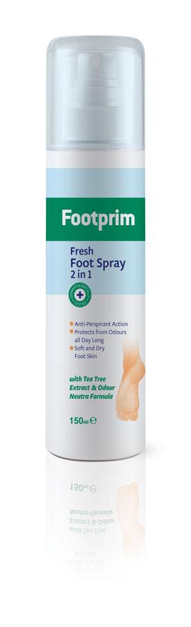 Footprim Дезодорант Антиперспирант для ног 2 в1 Fresh Foot Spray, 150 млFA-8116-1 White/pinkFresh Foot Spray эффективно защищает ноги от чрезмерного потоотделения и неприятного запаха в течение всего дня. Специальная комбинация активных ингредиентов и экстракта чайного дерева помогают сохранить кожу сухой и предотвращают грибковые инфекции. Ноги остаются здоровыми и не потеют. Продукт тестирован дерматологически.