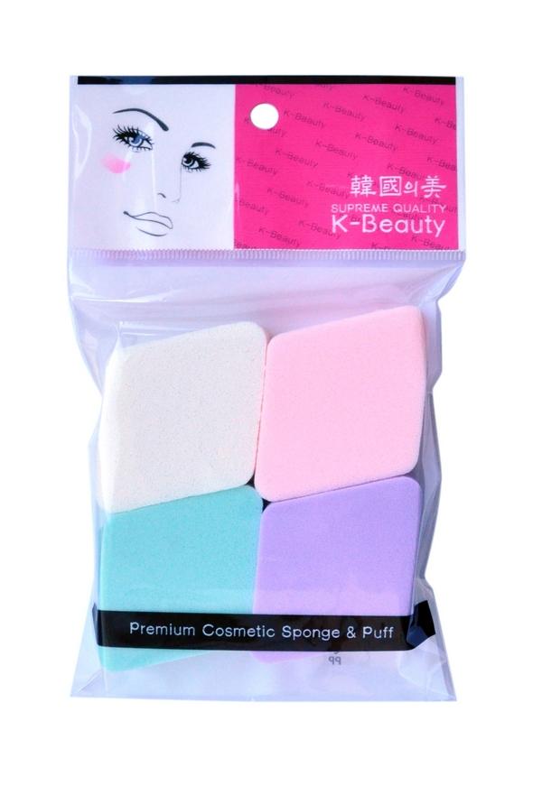 K-Beauty Спонж косметический Ромб 4 штБ33041Косметический спонж предназначен для нанесения тональных средств (корректора, тонального крема, румян, пудры и т.д.), а также коррекции макияжа. Спонж позволяет равномерно распределить не только сухие, но и кремовые текстуры, а его удобная форма в виде ромба подходит для обработки таких труднодоступных зон, как область вокруг глаз и носогубные складки.В упаковке 4 спонжа в виде ромбов разных цветов.Мягкий и нежный спонж не травмирует, подходит даже для чувствительной кожи.