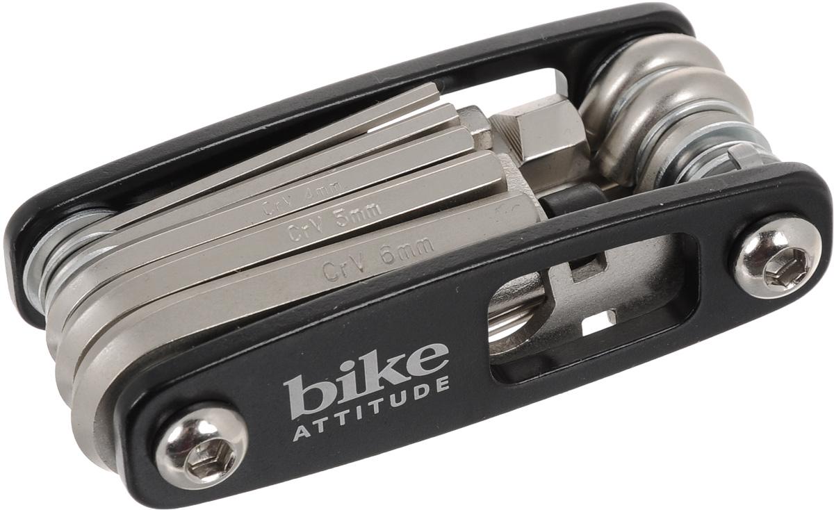 Набор ключей Bike Attitude МТ98А, с отвертками и выжимкой для цепи, 17 предметовDTL0-MT98A-BA01Набор Bike Attitude МТ98А состоит из 6 шестигранных ключей, ключа для спиц, выжимки для цепи, 4 отверток: мелкой крестовой, мелкой плоской, большой крестовой и большой плоской. Все предметы, кроме выжимки для цепи, надежно расположенных в держателе. Набор небольшой и компактный, что делает его незаменимой вещью при велопрогулках и в хозяйстве. Размеры шестигранных ключей: 2 мм, 2,5 мм, 3 мм, 4 мм, 5 мм, 6 мм.