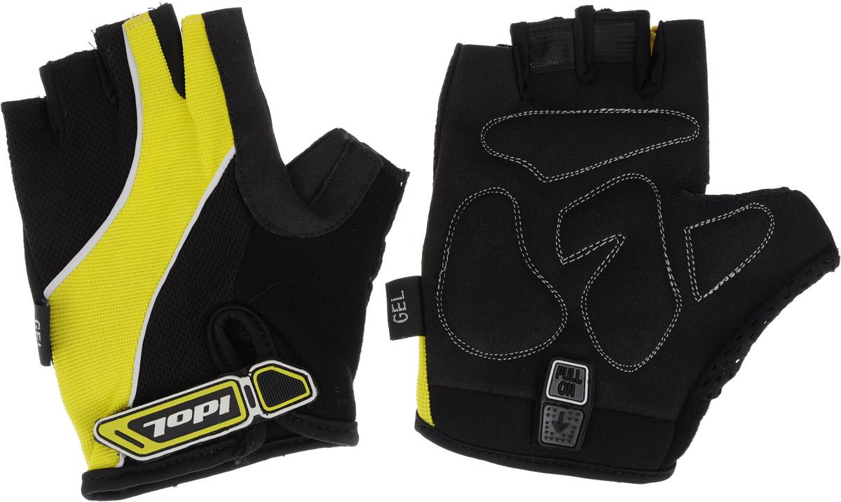 Перчатки велосипедные Idol, женские, цвет: черный, желтый. Размер L1502Удобные женские велосипедные перчатки без пальцев Idol предназначены для тех, кто занимается велоспортом, велотуризмом или просто катается на велосипеде. Рабочая поверхность велоперчаток выполнена из синтетической кожи, а верхняя часть - из лайкры, хорошо отводящей влагу и, благодаря своей упругости, плотно сидящей на руке. На запястьях перчатки фиксируются прочными липучками. Для удобного одевания каждая перчатка оснащена системой Pull On. Высокое качество, технически совершенные материалы, оригинальный стильный дизайн, функциональность и долговечность выделяют велоперчатки Idol среди прочих.
