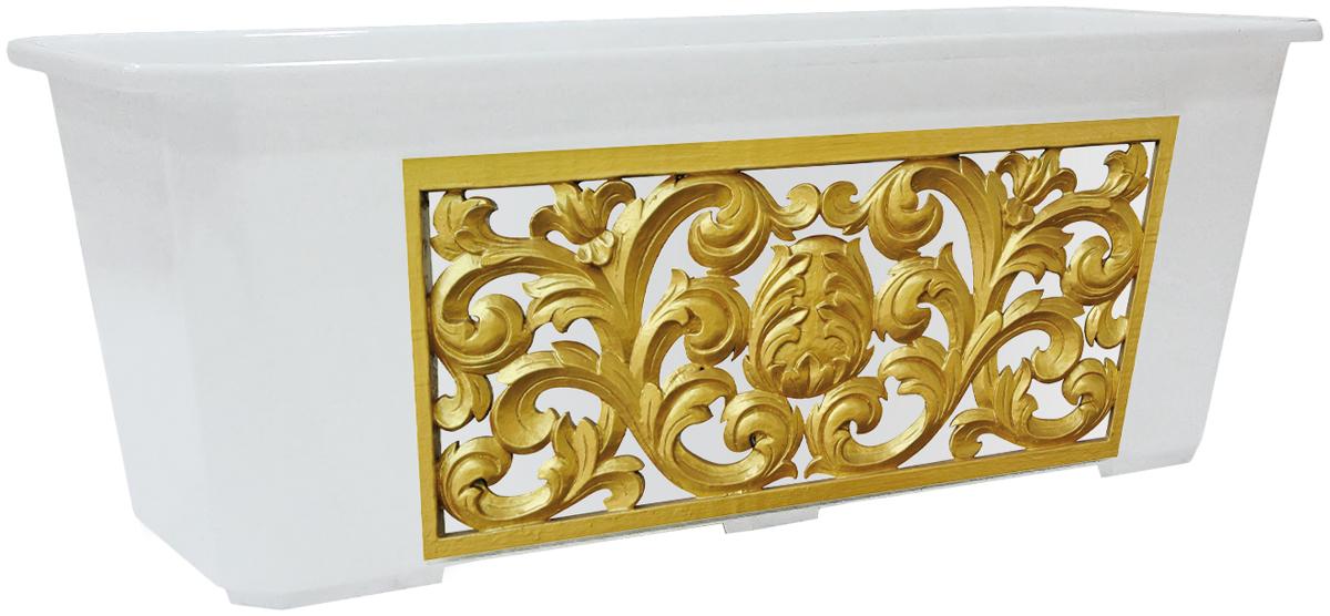 Ящик балконный InGreen, цвет: белый, золотистый, 40 х 17 х 15 см. ING1809БР19201Балконный ящик InGreen, изготовленный из высококачественного цветного пластика, предназначен для выращивания цветов и рассады как на балконе, так и в комнатных условиях.