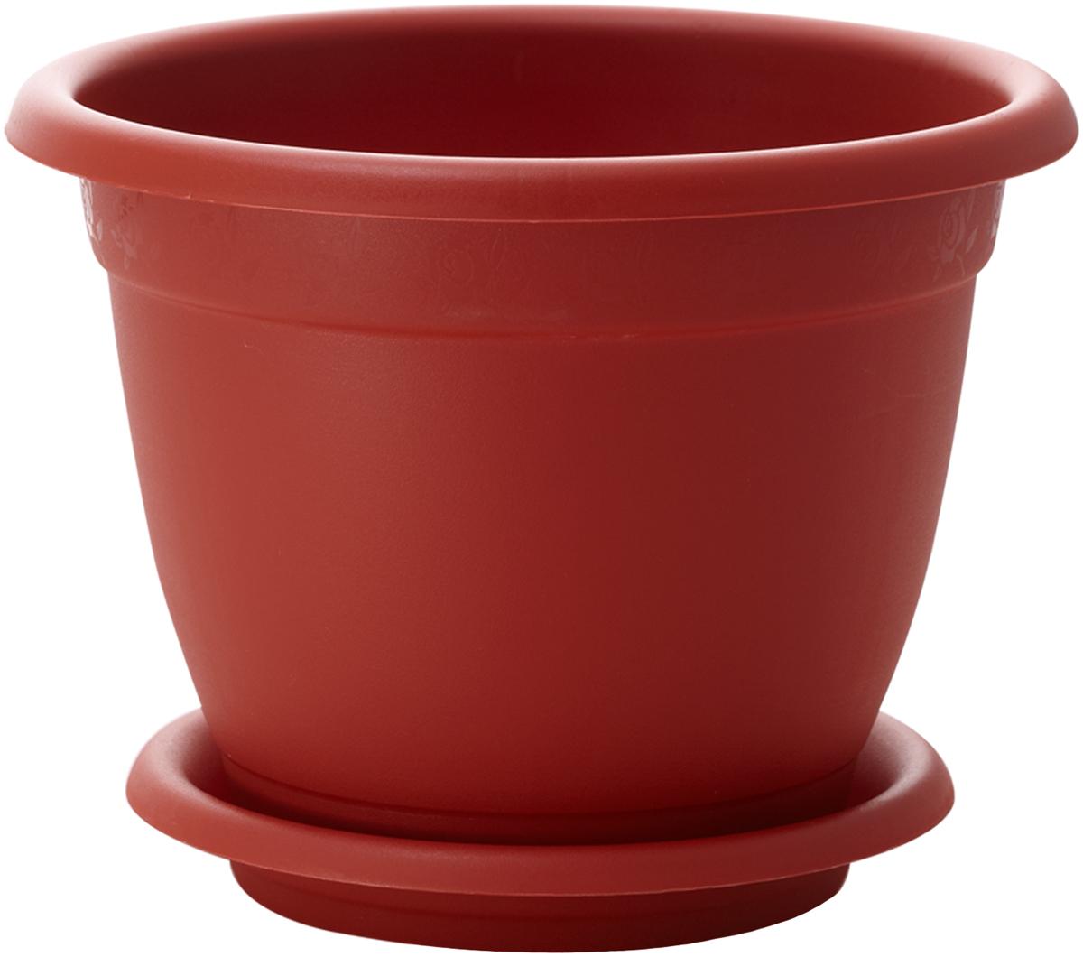 Горшок для цветов InGreen Борнео, с поддоном, цвет: терракотовый, диаметр 43 смING42043FТРЦветочный горшок с поддоном InGreen Борнео, выполненный из высококачественного пластика, сочетает в себе классический дизайн и функциональность. Он станет прекрасным дополнением любого интерьера. Горшок имеет дренажные отверстия, что способствует выведению лишней влаги из почвы и предотвращает гниение корневой системы растения. Благодаря специальной крепежной системе поддон прочно крепится к горшку, что обеспечивает удобство эксплуатации изделия. Между стенкой горшка и поддоном есть зазор, который позволяет испаряться лишней влаге и дает возможность прикорневого полива растения. Горшок InGreen Борнео предназначен для выращивания многолетних и однолетних растений.