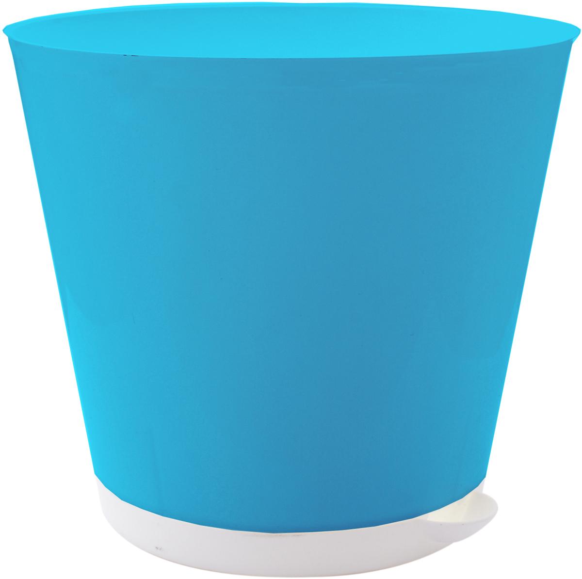 """Горшок для цветов InGreen """"Крит"""", с системой прикорневого полива, цвет: светло-синий, белый, диаметр 22,6 см ING46022СВСН"""
