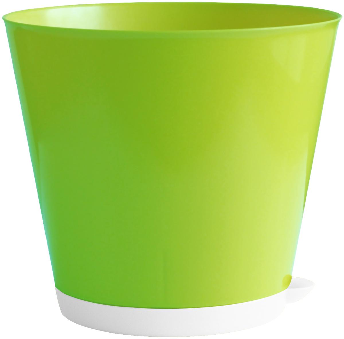 """Горшок для цветов InGreen """"Крит"""", с системой прикорневого полива, цвет: салатовый, белый, диаметр 22,6 см ING46022СЛ"""