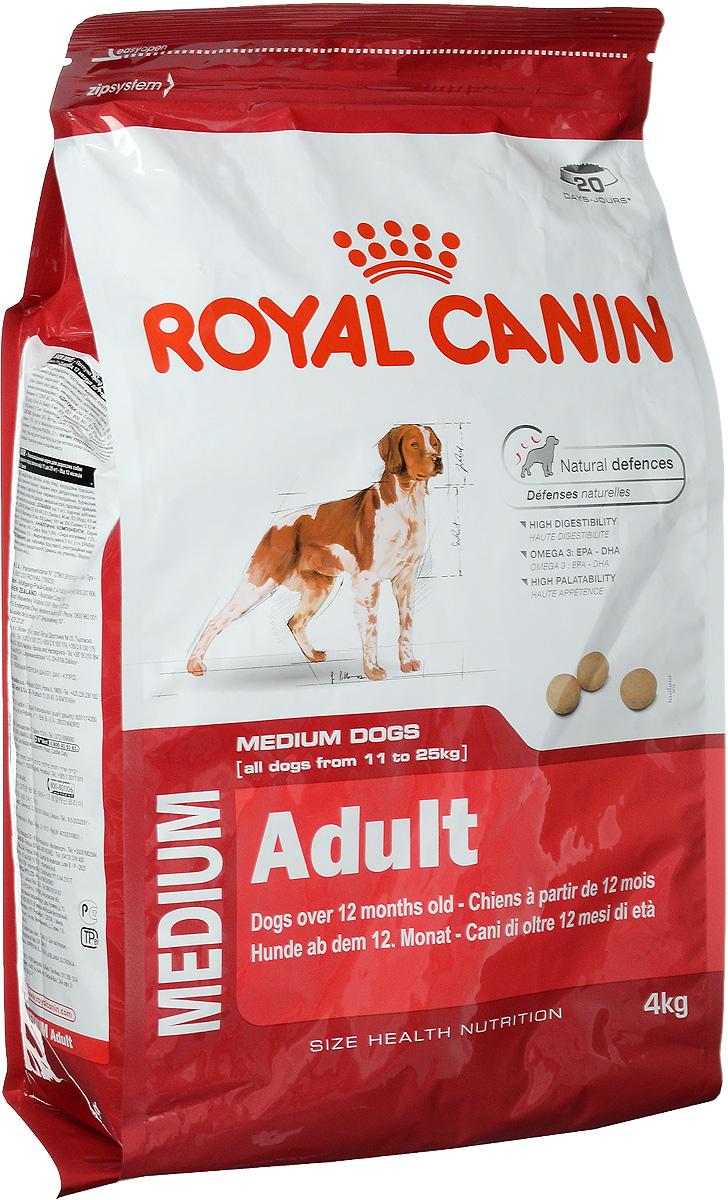 Корм сухой Royal Canin Medium Adult для взрослых собак средних пород, 4 кг00585Корм сухой Royal Canin Medium Adult - полноценный корм для взрослых собак средних размеров (весом от 11 до 25 кг) в возрасте от 12 месяцев до 7 лет. Особенности: - Естественные механизмы защиты Поддерживает естественные защитные силы организма собаки, благодаря запатентованному комплексу антиоксидантов и маннаноолигосахаридов. - Высокая усвояемость Способствует оптимальному перевариванию пищи, благодаря особой формуле с очень высоким содержанием белков и сбалансированным количеством пищевых волокон. - Жирные кислоты Омега 3: EPA - DHA Рацион обогащен жирными кислотами Омега-3 (EPA-DHA), помогающими поддерживать здоровое состояние кожи. - Высокая пищевая привлекательность Вызывает аппетит у собак средних размеров, благодаря тщательному подбору вкусов и ароматов. Состав: дегидратированные белки животного происхождения (птица), кукурузная мука, кукуруза, пшеничная мука, животные жиры,...