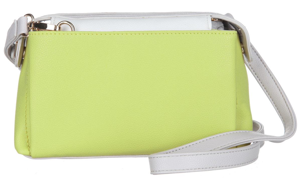 Сумка женская Calipso, цвет: желто-зеленый, белый, светло-серый. 425-541286-231425-541286-231Стильная женская сумка Calipso выполнена из искусственной кожи зернистой фактуры. Сумка состоит из одного основного отделения, закрывающегося на пластиковую застежку-молнию. Модель содержит врезной карман на молнии, два накладных кармана для мелочей и ремешок с кольцом для ключей. По обеим сторонам сумки расположены накладные карманы, каждый из которых закрывается на магнитную кнопку. Плоское дно сумки обеспечивает необходимую устойчивость. Сумка оснащена съемным плечевым ремнем, регулируемой длины. Прилагается фирменный текстильный чехол для хранения. Сумка - это стильный аксессуар, который сделает ваш образ изысканным и завершенным. Классические формы и оригинальное оформление сумки Calipso подчеркнет ваше отменное чувство стиля.