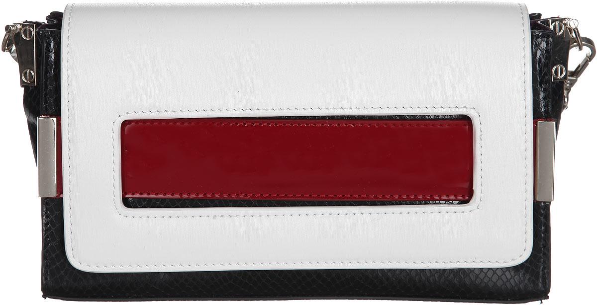 Сумка женская VelVet, цвет: белый, черный, красный. 985-361286-172985-361286-172Стильная женская сумка VelVet изготовлена из искусственной кожи и оформлена сочетанием разных фактур. Модель содержит одно отделение, которое закрывается на клапан с магнитом. Внутри - два накладных кармашка для мелочей и телефона и врезной карман на молнии. Задняя сторона сумки дополнена врезным карманом на молнии. Изделие оснащено съемным плечевым ремнем, регулируемой длины. Лицевая сторона сумки дополнена декоративной полоской из лаковой кожи с металлическими креплениями. Благодаря компактным размерам, сумку можно использовать в качестве клатча. Яркий дизайн сумки, сочетающий классические формы с оригинальным оформлением, позволит вам подчеркнуть свою индивидуальность и сделает ваш образ изысканным и завершенным.