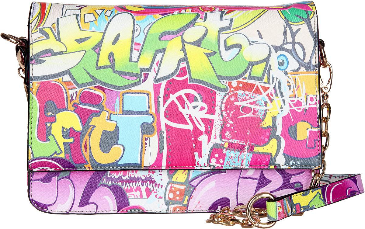 Сумка женская VelVet, цвет: мультиколор. 594-341286-231594-341286-231Оригинальная молодёжная женская сумка VelVet выполнена из искусственной кожи зернистой фактуры и оформлена современным принтом граффити. Сумка состоит из одного основного отделения, закрывающегося на пластиковую застежку-молнию. Внутри врезной карман на молнии и два накладных кармана для телефона и мелочей, также предусмотрен ремешок с кольцом для ключей. По обеим сторонам изделия расположены открытые накладные карманы, дополнительно закрывающиеся на клапан с магнитной кнопкой. На задней стенке предусмотрен врезной карман на молнии. Сумка оснащена двумя съемными плечевыми ремнями, один из которых регулируемой длины, а второй - украшен металлическими цепочками. Прилагается фирменный текстильный чехол для хранения. Оригинальная сумка VelVet дополнит ваш образ и подчеркнет ваше отменное чувство стиля.