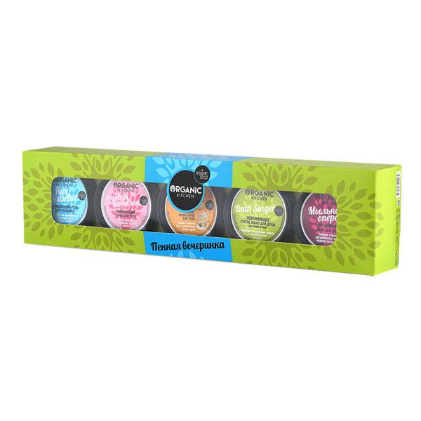 Organic Shop Подарочный набор Пенная вечеринка (Густое мыло для душа для волос и тела, 100 мл + Скраб для тела, 100 мл + Гель для душа,