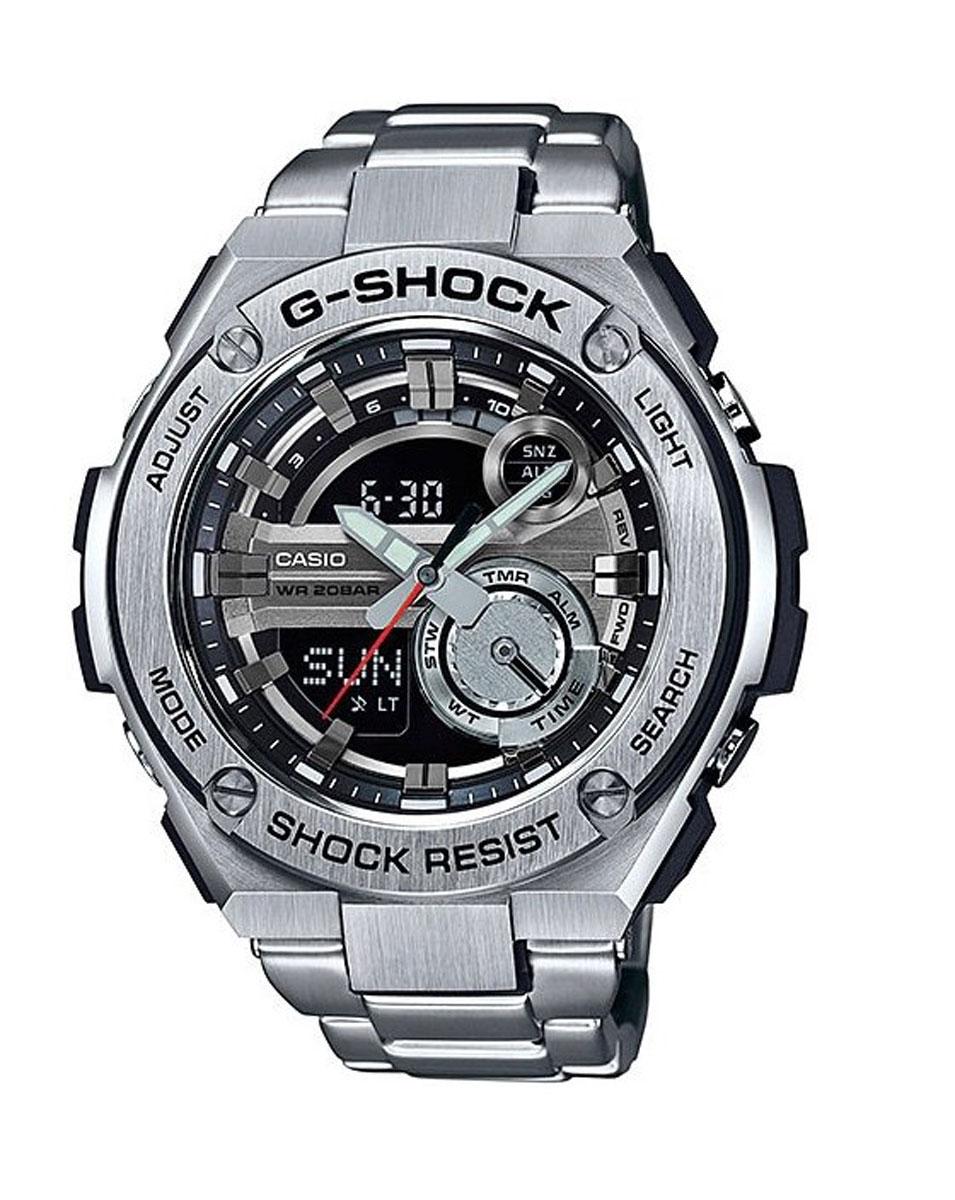Наручные часы мужские Casio G-Shock, цвет: стальной, черный. GST-210D-1AGST-210D-1AФункция мирового времени в 31 часовом поясе с обозначением 48 основных городов в этих временных зонах. Функция секундомера с точностью измерений 1/100 сек. и общим временем 24 часа. Режимы Add и Split. Таймер обратного отчета с точность 1 секунда и диапазоном от 1 минуты до 60 минут. Пять ежедневных будильников, один с функцией автоповтора «snooze» и ежечасный сигнал. Включение/выключение звука кнопок Автоматический календарь с возможностью настройки даты до 2099 года. Отображение времени в 12/24-часовом формате. Сверх яркая электрическая подсветка с регулируемым временем свечения от 1,5 до 3 секунд. Автоматическая светодиодная LED-подсветка дисплея активируется как при нажатии соответствующей кнопки, так и при подъеме и повороте руки при недостаточной освещенности. Фронтальная поверхность корпуса из нержавеющей стали 316L, поверхности с матовой шлифовкой (сатинированием). Размеры корпуса: ширина - 52,4 мм, высота - 59,1 мм и толщина - 16,1 мм. Вес приблизительно 111 грамм (195 грамм...