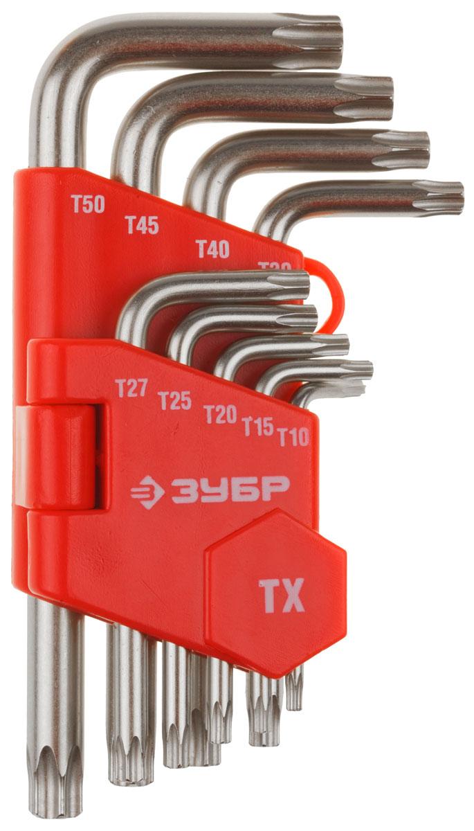 Набор Зубр Ключи Мастер имбусовые короткие, Cr-V, TORX Т10-Т50, 9 предметов27462-1_z02