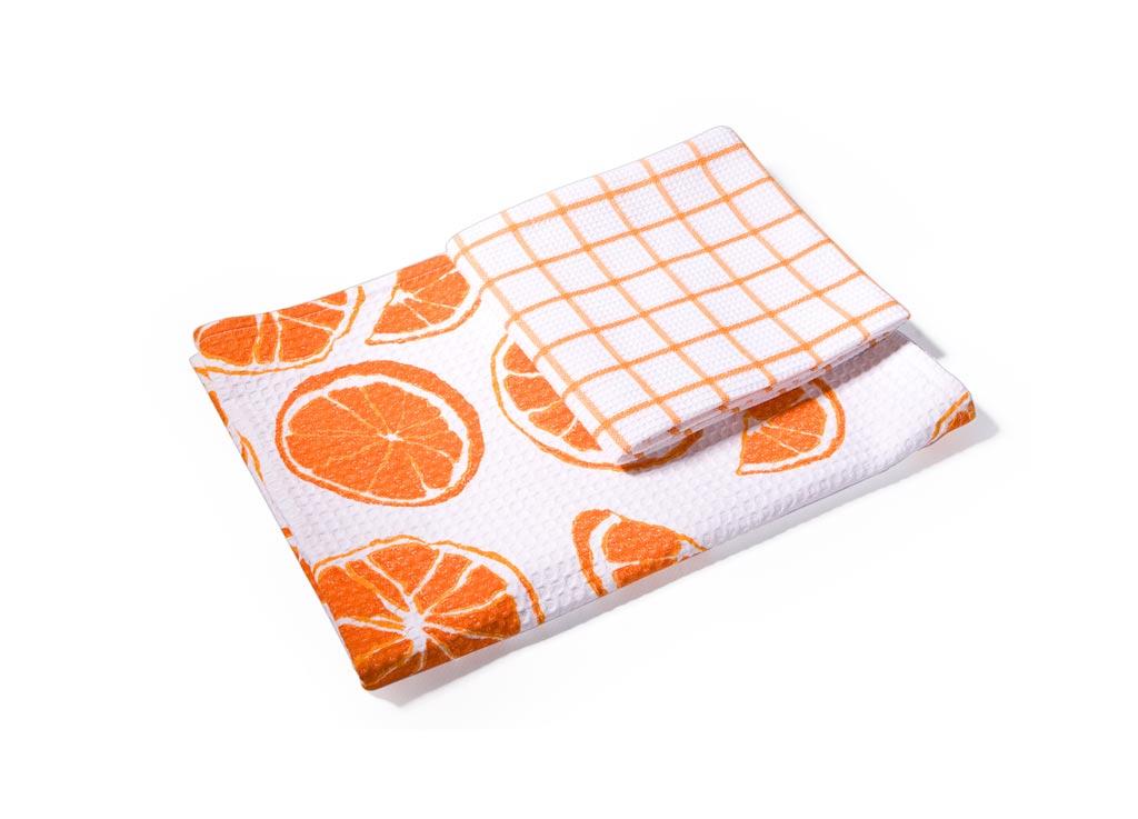 Набор кухонных полотенец Soavita Апельсин, 40 х 60 см, 2 штSS 4041Вафельные полотенца Soavita Апельсин выполнены из 100% хлопка и декорированы ярким рисунком. Изделия предназначены для использования на кухне и в столовой. Отлично впитывают влагу. Качество материала гарантирует безопасность не только взрослых, но и самых маленьких членов семьи. Полотенца Soavita идеально дополнят интерьер вашей кухни и создадут атмосферу уюта и комфорта.