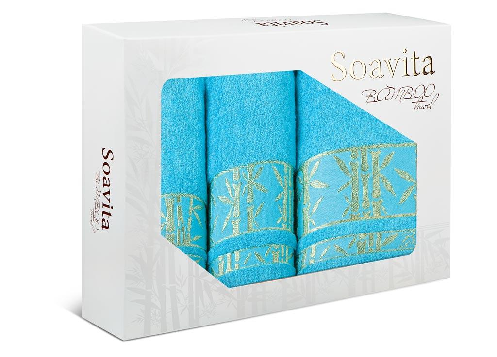 Набор махровых полотенец Soavita Andrea, цвет: бирюзовый, 3 шт70023Махровое полотно создается из хлопковых нитей, которые, в свою очередь, прядутся из множества хлопковых волокон. Чем длиннее эти волокна, тем прочнее будет нить, и, соответственно, изделие. Длина составляющих хлопковую нить волокон влияет и на фактуру получаемой ткани: чем они длиннее, тем мягче и пушистее получится махровое изделие, тем лучше будет впитывать изделие воду. Хотя на впитывающие качество махры – ее гигроскопичность, не в последнюю очередь влияет состав волокна. Мягкая махровая ткань отлично впитывает влагу и быстро сохнет.