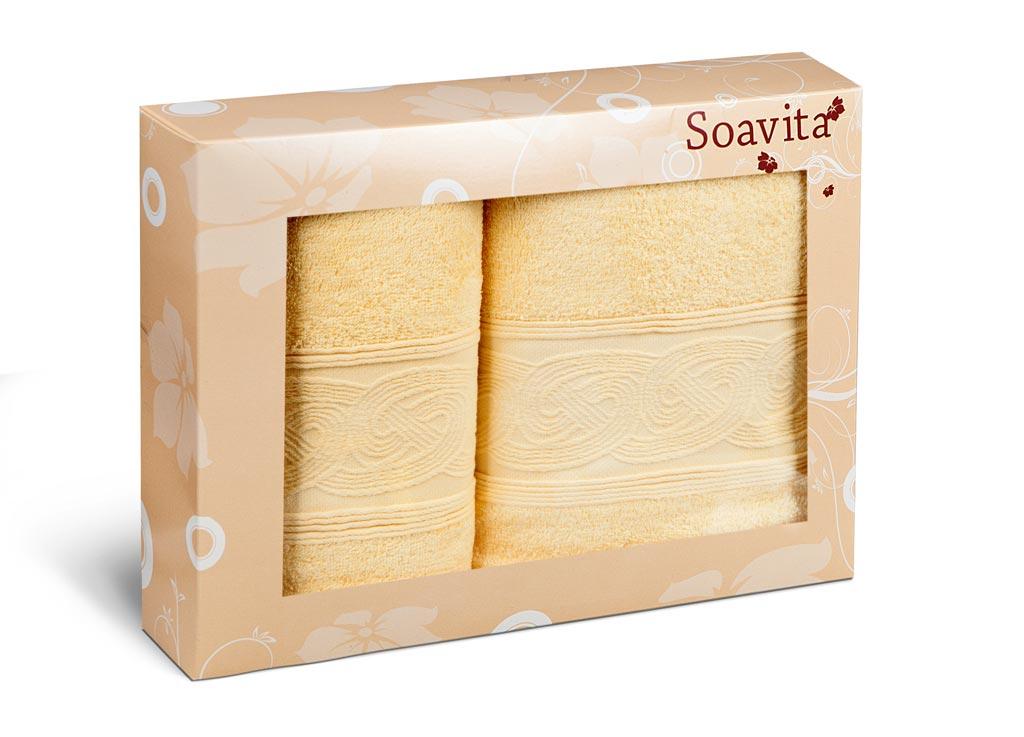 Набор махровых полотенец Soavita Жемчуг, цвет: желтый, 2 штKOC_SOL249_G4Махровое полотно создается из хлопковых нитей, которые, в свою очередь, прядутся из множества хлопковых волокон. Чем длиннее эти волокна, тем прочнее будет нить, и, соответственно, изделие. Длина составляющих хлопковую нить волокон влияет и на фактуру получаемой ткани: чем они длиннее, тем мягче и пушистее получится махровое изделие, тем лучше будет впитывать изделие воду. Хотя на впитывающие качество махры – ее гигроскопичность, не в последнюю очередь влияет состав волокна. Мягкая махровая ткань отлично впитывает влагу и быстро сохнет.