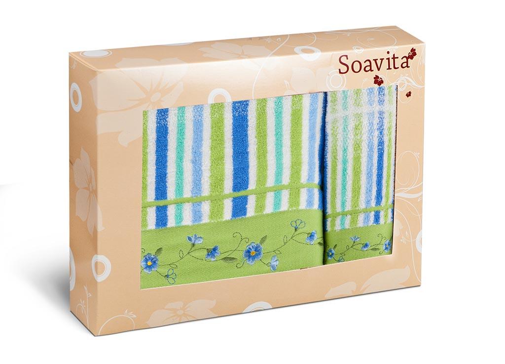 Набор махровых полотенец Soavita Lily, цвет: зеленый, 2 шт71236Махровое полотно создается из хлопковых нитей, которые, в свою очередь, прядутся из множества хлопковых волокон. Чем длиннее эти волокна, тем прочнее будет нить, и, соответственно, изделие. Длина составляющих хлопковую нить волокон влияет и на фактуру получаемой ткани: чем они длиннее, тем мягче и пушистее получится махровое изделие, тем лучше будет впитывать изделие воду. Хотя на впитывающие качество махры – ее гигроскопичность, не в последнюю очередь влияет состав волокна. Мягкая махровая ткань отлично впитывает влагу и быстро сохнет. Soavita – это популярный бренд домашнего текстиля. Дизайнерская студия этой фирмы находится во Флоренции, Италия. Производство перенесено в Китай, чтобы сделать продукцию более доступной для покупателей. Таким образом, вы имеете возможность покупать продукцию европейского качества совсем не дорого. Домашний текстиль прослужит вам долго: все детали качественно прошиты, ткани очень плотные, рисунок наносится безопасными для здоровья красителями, не...