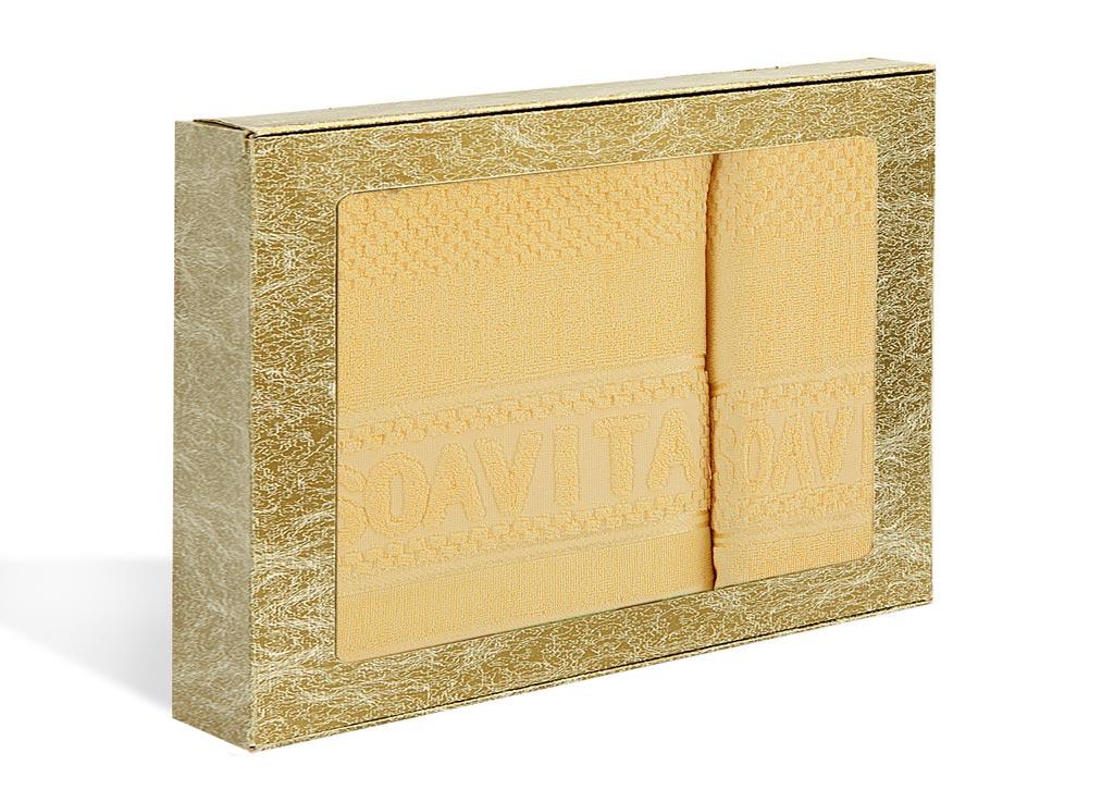 Набор махровых полотенец Soavita Бронза, цвет: желтый, 2 шт76752Махровое полотно создается из хлопковых нитей, которые, в свою очередь, прядутся из множества хлопковых волокон. Чем длиннее эти волокна, тем прочнее будет нить, и, соответственно, изделие. Длина составляющих хлопковую нить волокон влияет и на фактуру получаемой ткани: чем они длиннее, тем мягче и пушистее получится махровое изделие, тем лучше будет впитывать изделие воду. Хотя на впитывающие качество махры – ее гигроскопичность, не в последнюю очередь влияет состав волокна. Мягкая махровая ткань отлично впитывает влагу и быстро сохнет.
