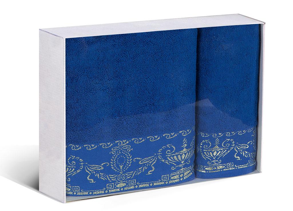 Набор махровых полотенец Soavita Амфора, цвет: синий, 2 шт77699Махровое полотно создается из хлопковых нитей, которые, в свою очередь, прядутся из множества хлопковых волокон. Чем длиннее эти волокна, тем прочнее будет нить, и, соответственно, изделие. Длина составляющих хлопковую нить волокон влияет и на фактуру получаемой ткани: чем они длиннее, тем мягче и пушистее получится махровое изделие, тем лучше будет впитывать изделие воду. Хотя на впитывающие качество махры – ее гигроскопичность, не в последнюю очередь влияет состав волокна. Мягкая махровая ткань отлично впитывает влагу и быстро сохнет.
