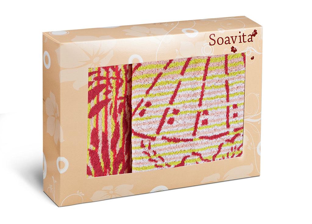 Набор махровых полотенец Soavita Веер, цвет: розовый, 2 шт79807Махровое полотно создается из хлопковых нитей, которые, в свою очередь, прядутся из множества хлопковых волокон. Чем длиннее эти волокна, тем прочнее будет нить, и, соответственно, изделие. Длина составляющих хлопковую нить волокон влияет и на фактуру получаемой ткани: чем они длиннее, тем мягче и пушистее получится махровое изделие, тем лучше будет впитывать изделие воду. Хотя на впитывающие качество махры – ее гигроскопичность, не в последнюю очередь влияет состав волокна. Мягкая махровая ткань отлично впитывает влагу и быстро сохнет.