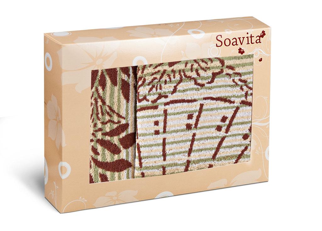 Набор махровых полотенец Soavita Веер, цвет: бежевый, 2 шт79808Махровое полотно создается из хлопковых нитей, которые, в свою очередь, прядутся из множества хлопковых волокон. Чем длиннее эти волокна, тем прочнее будет нить, и, соответственно, изделие. Длина составляющих хлопковую нить волокон влияет и на фактуру получаемой ткани: чем они длиннее, тем мягче и пушистее получится махровое изделие, тем лучше будет впитывать изделие воду. Хотя на впитывающие качество махры – ее гигроскопичность, не в последнюю очередь влияет состав волокна. Мягкая махровая ткань отлично впитывает влагу и быстро сохнет.