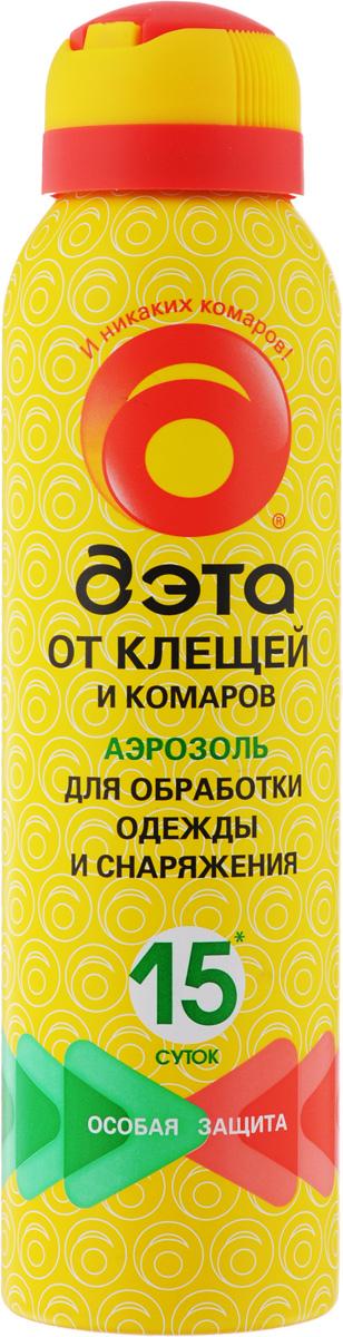 Аэрозоль от клещей и комаров Дэта, для обработки одежды и снаряжений, 150 мл66704702Аэрозоль Дэта обеспечивает надежную защиту от лесных и таежных (иксодовых) клещей - переносчиков и возбудителей клещевого энцефалита и боррелиоза. Не оставляет пятен на тканях. Предназначен для обработки одежды и снаряжения. Состав: 0,2% альфациперметрин, 10% N,N-диэтил-m-толуамид, спирт изопропиловый, пропиленгликоль, экстракт пихты, пропеллент углеводородный. Товар сертифицирован.