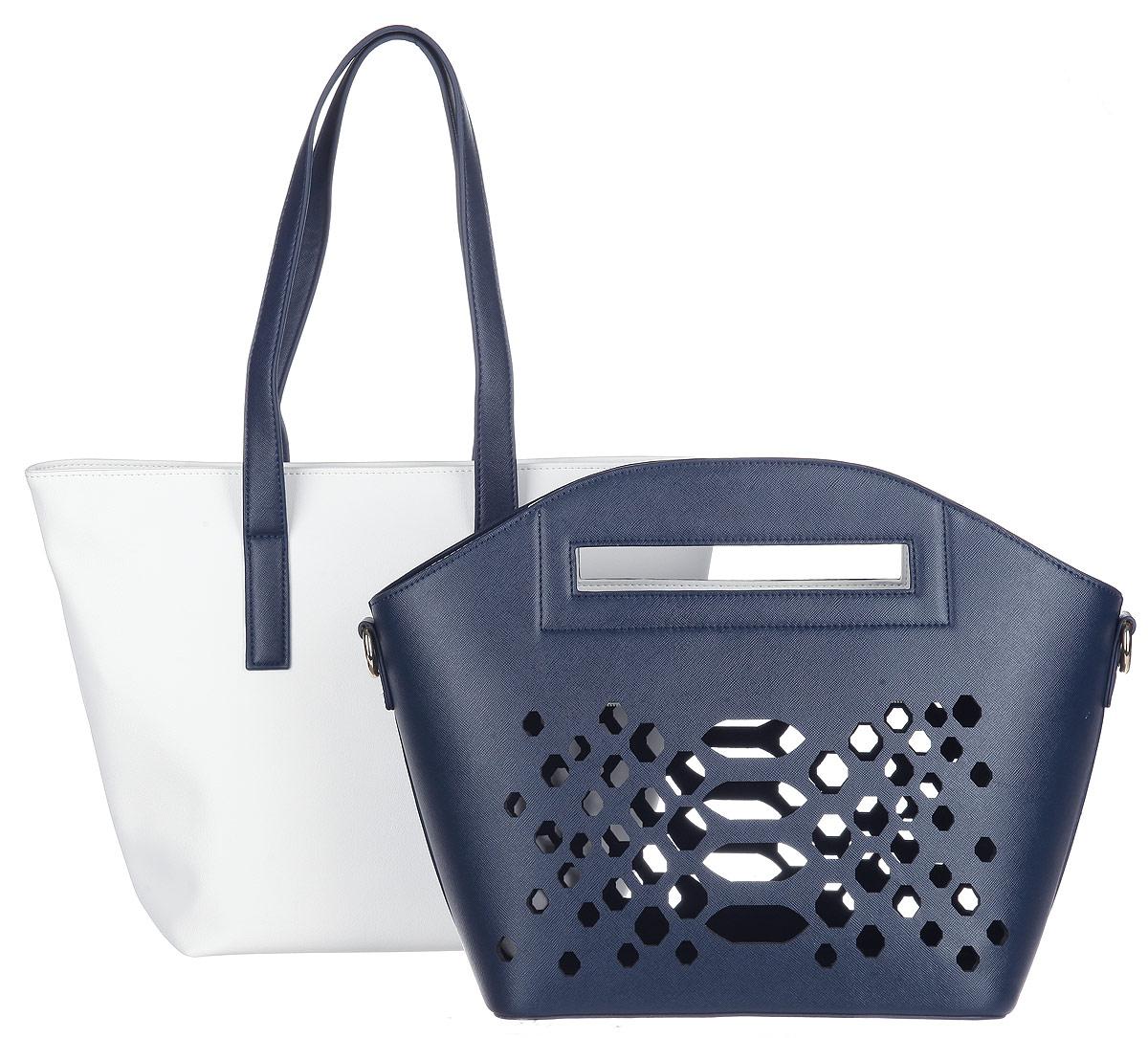 Сумка женская VelVet, цвет: темно-синий, белый. 995-161286-17273298с-1Оригинальная женская сумка VelVet выполнена из искусственной кожи и представляет собой сумку два в одном. Каждую сумку можно использовать как отдельный аксессуар. Внешняя сумка выполнена из плотной кожи с тиснением под сафьян и без подкладки, оформлена фигурной вырубкой и застегивается на пластиковую молнию. Вторая сумка изготовлена из кожи с зернистой фактурой и застегивается на молнию. Внутри врезной карман на молнии и два нашивных кармана для телефона и мелочей. Удобные удлиненные ручки позволяют носить сумку не только в руках, но и на плече.Сумка оснащена съемным плечевым ремнем, регулируемой длины.Прилагается фирменный текстильный чехол для хранения.Сумка - это стильный аксессуар, который сделает ваш образ изысканным и завершенным.