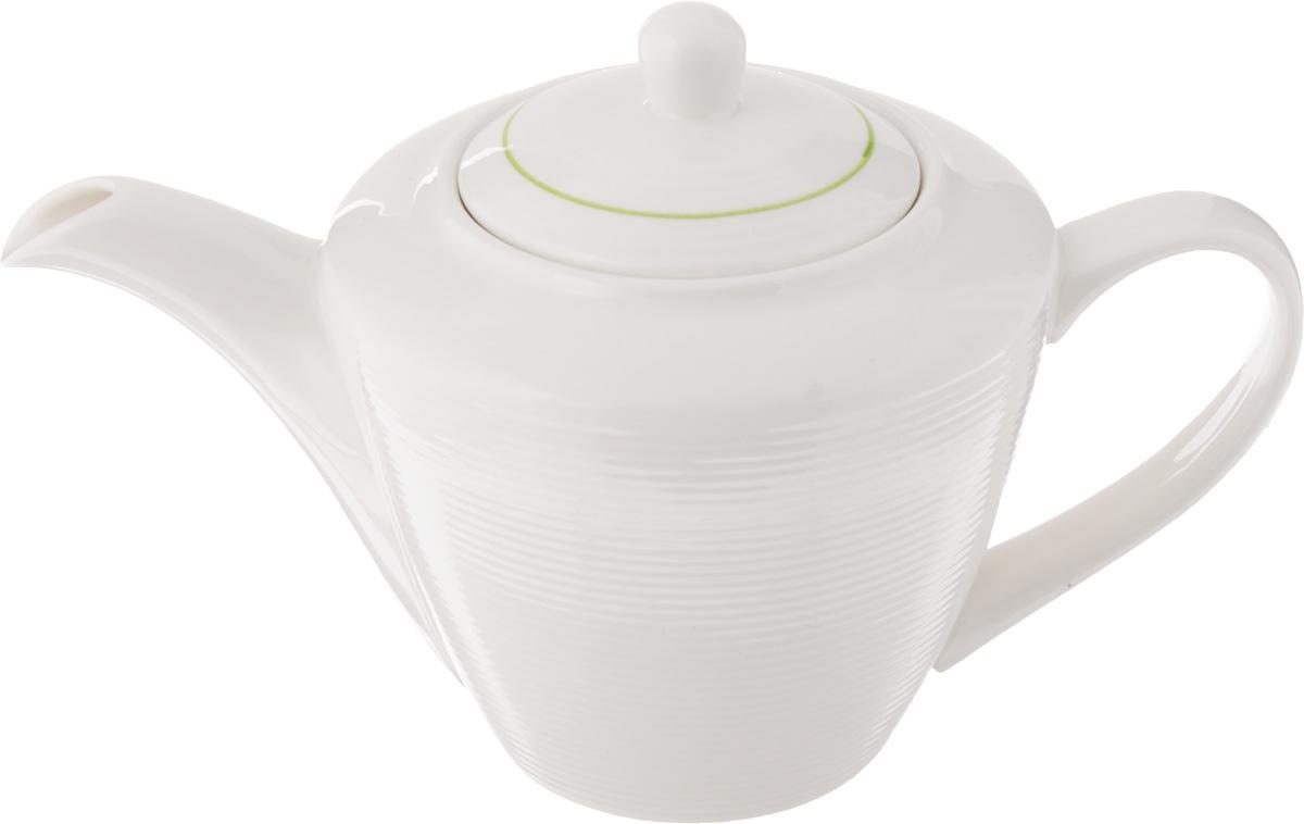 Чайник заварочный Gumertal Зеленая линия, цвет: белый, зеленый, 500 мл596-019Заварочный чайник Gumertal Зеленая линия изготовлен из высококачественной керамики с гладким глазурованным покрытием. Чайник снабжен удобной ручкой и широким носиком. В основании носика расположены фильтрующие отверстия от попадания чаинок в чашку. Изысканный заварочный чайник украсит сервировку стола к чаепитию. Благодаря красивому утонченному дизайну и качеству исполнения он станет хорошим подарком друзьям и близким. Не рекомендуется применять абразивные моющие средства. допускается использование в микроволновой печи и холодильнике. Можно мыть в посудомоечной машине. Диаметр чайника (по верхнему краю): 6 см. Высота чайника (без учета крышки): 10,5 см.