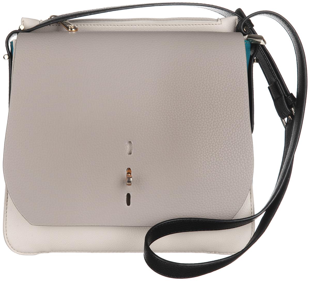 Сумка женская Calipso, цвет: серый, молочный. 432-151286-231859425-002Изысканная женская сумка Calipso выполнена из искусственной кожи с замшевыми вставками по бокам. Сумка закрывается на замок-молнию и дополнительно клапаном на замок-вертушку в трех уровнях. Внутри одно отделение. Вместительное внутреннее отделение содержит два накладных кармана для телефона и мелких принадлежностей и врезной карман на молнии. Внутри модель также содержит специальный ремешок с крепежом для ключей. Сверху расположен глубокий врезной карман на молнии. Между ним и основным отделением расположен глубокий внутренний карман для бумаг и других мелочей. Сумка оснащена оригинальным, съемным плечевым ремнем регулируемой длины, который позволит носить изделие как в руках так и на плече. Модель выполнена в оригинальном дизайне, декорирована металлической фурнитурой золотистого цвета.Практичная и стильная сумка прекрасно завершит ваш образ.