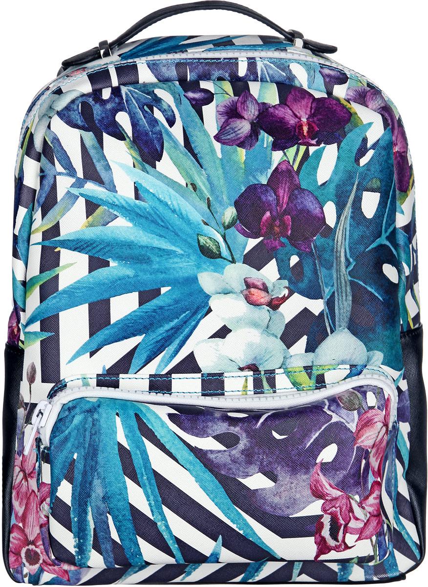 Рюкзак женский VelVet, цвет: черный, бирюзовый, фиолетовый. 584-321288-231BP-303 BKСтильный женский рюкзак VelVet, выполненный из искусственной кожи, оформлен цветочным принтом и принтом в полоску. Изделие имеет одно основное отделение, закрывающееся на застежку-молнию. Внутри расположены прорезной карман на застежке-молнии, два накладных открытых кармана, мягкий карман для планшета, закрывающийся на хлястик с липучкой, и ремешок с металлическим кольцом для ключей. Снаружи, на передней стенке находится накладной карман на застежке-молнии, на задней стенке - прорезной карман на застежке-молнии.Рюкзак оснащен удобными лямками регулируемой длины и ручкой для переноски в руке. Практичный аксессуар позволит вам завершить свой образ и быть неотразимой.