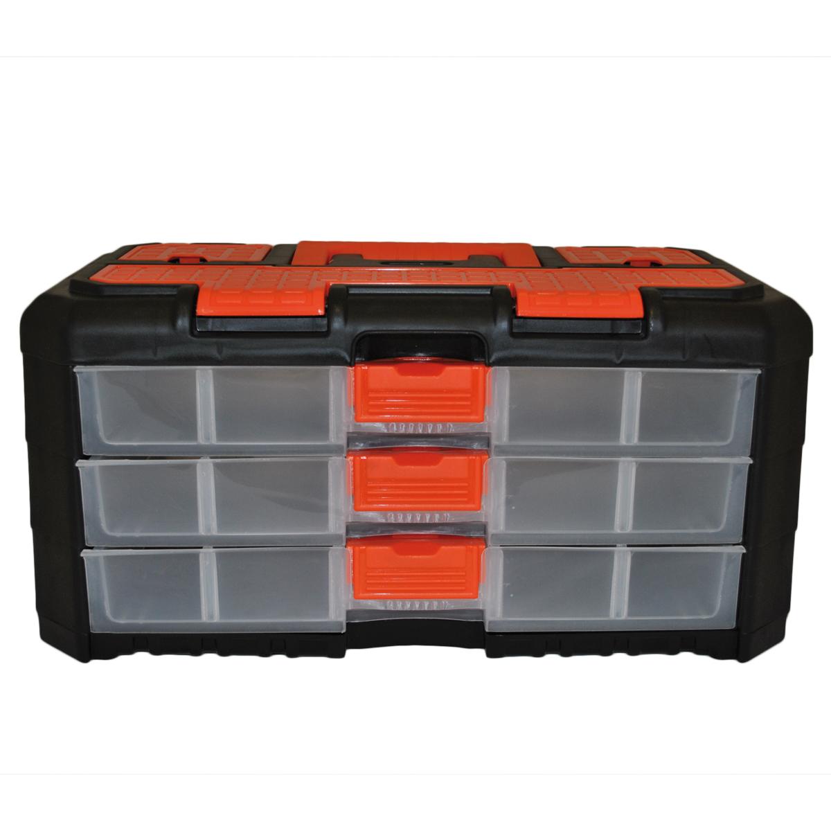 Органайзер для мелочей Blocker Grand, цвет: черный, оранжевый, 400 х 219 х 197 мм98298123_черныйУниверсальный сет для мелочей Blocker Grand с ручкой для переноски выполнен из высококачественного полипропилена. Секции фиксируются замками, которые надежно защищают от случайного открывания. Внутри секции разделены съемными перегородками, что позволяет организовать внутреннее пространство в зависимости от потребностей и делает сет пригодным для хранения не только мелочей, но и предметов средней величины. Встроенные секции на крышке подходят для хранения скобяных изделий.